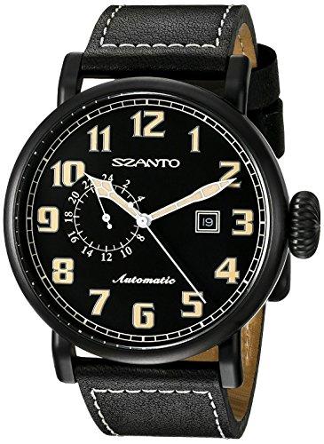 Szanto Men's SZ 6101 Aviator Automatic Analog Display Japanese Automatic Black Watch