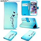 iPhone 6 Case,iPhone 6S Case ,JanCalm [Kickstand] Pattern Premium PU Leather Wallet [Card Slots Cash Compartment] Flip Cover for iPhone 6/6S Including - Crystal Pen (Smile)
