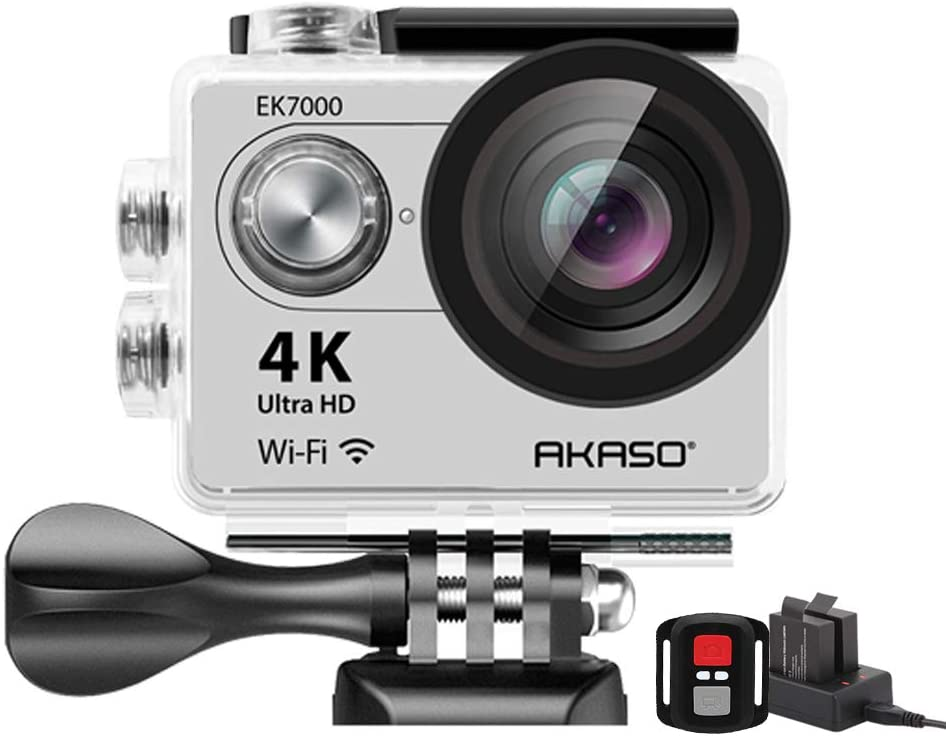 AKASO EK7000 4K WiFi Sports Action Camera Ultra HD Waterproof DV Camcorder 12MP 170 Degree Wide Angle 2 inch LCD Screen/2.4G Remote Control/2 Rechargeable Batteries/19 Mounting Kits-Silver
