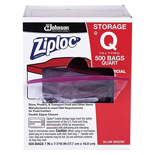 Ziploc Double Zipper Quart Size Plastic Storage Bags, 500/Carton - Johnsondiversey Air