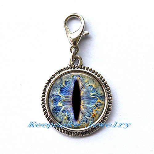 Necklace Key Chain Zipper Pull - Frost Dragon Eye Zipper Pull, Perfect for Necklaces, Bracelets , keychain and earrings,Charm planner charm Frost Dragon Eye handmade charm