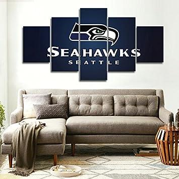 Amazon.com: Seattle Seahawks, Canvas Wall Art Framed 5 Panel (Size 1 ...