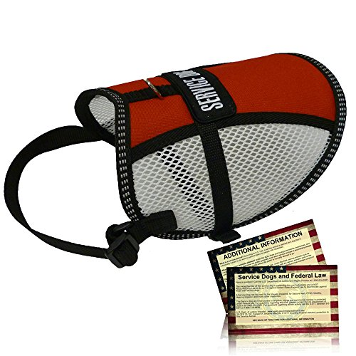 "Petjoy-Wiredog Flow-Tec Mesh Service Dog Vest with 50 Free Service Dog ADA Info Cards - Sizes 11""-24"""