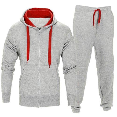 Set! Charberry Men Stretchy Trousers Hooded Coat Jacket Pants Jogging Sports Tracksuit Set (US-L/CN-XL, Grey) ()