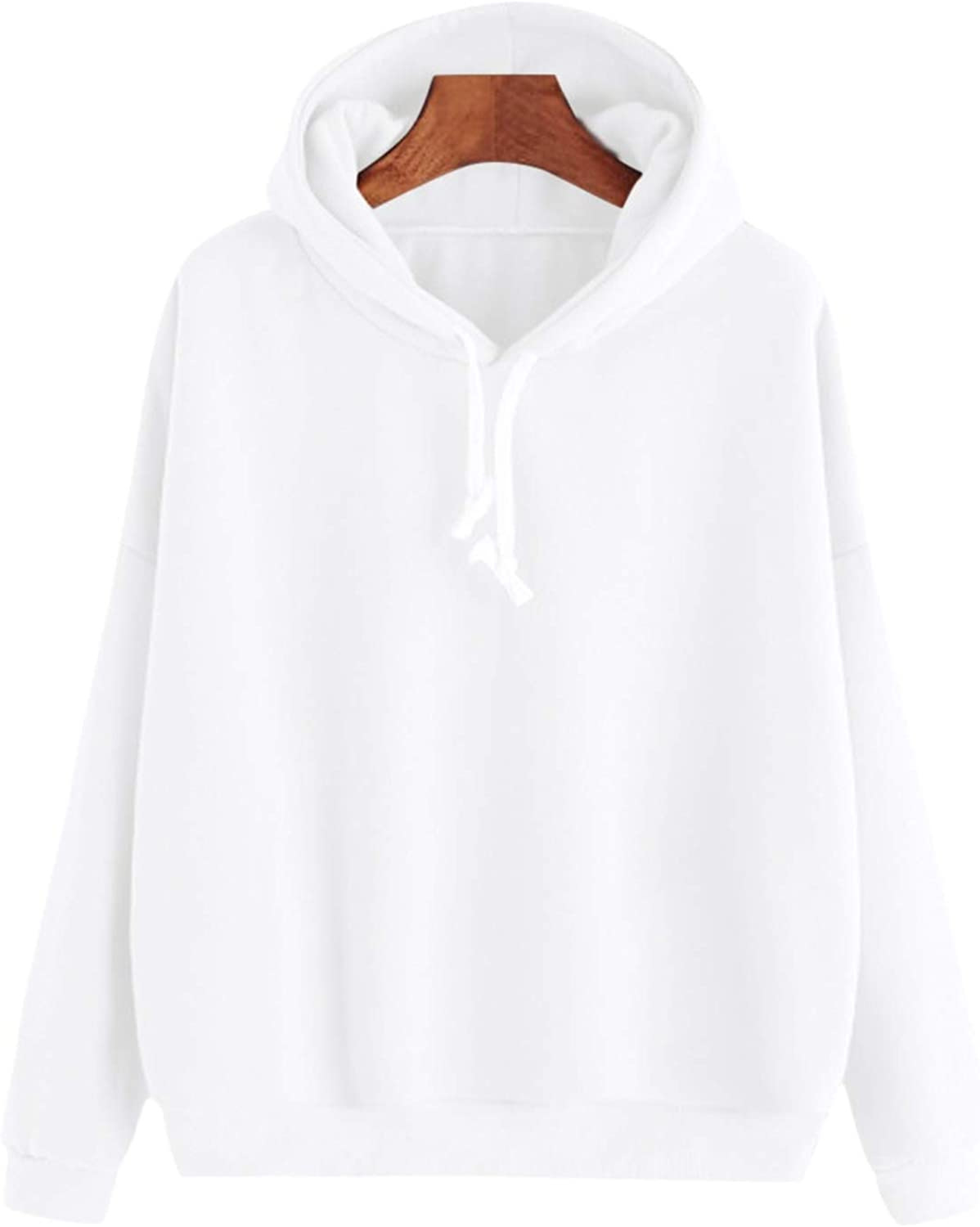 Dreamedge Womens Gown with A Hood Hoodies Ladies Long Sleeve Casual Pullover Clothes Sweatshirt,White,XL,C