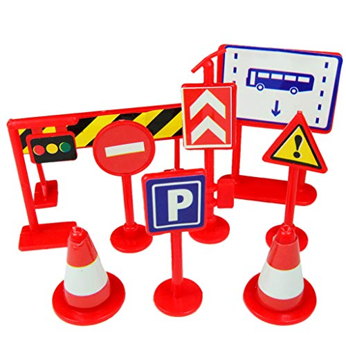 JPJ(TM)9pcs Kids Hot Creative Car Toy Accessories Traffic Road Signs Children Play Learn Toy Game (Red)