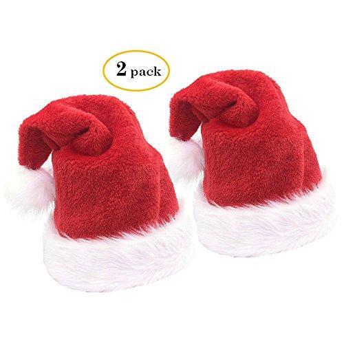 2pcs Christmas Santa Hat,Thickened Luxury Plush Christmas Hat