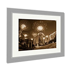 Ashley Framed Prints Night View Of The Super Tree Grove At Gardens By The Bay In Singapore Spanning, Contemporary Decoration, Sepia, 26x30 (frame size), Silver Frame, AG6084883