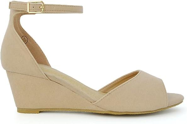 peep toe low wedge sandals