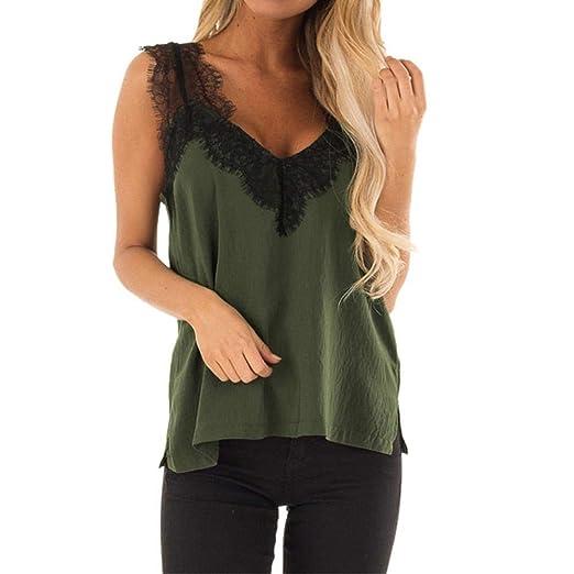 123e8b53d5e76 STORTO Women Summer Sleeveless Vest Top Lace Sleeveless Casual V Neck  Halter Spaghetti Cami Army Green