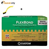 Toucan-City-Tile-and-Grout-Brush-and-Custom-Building-Products-FlexBond-White-50-lb-Crack-Prevention-Mortar-FBW