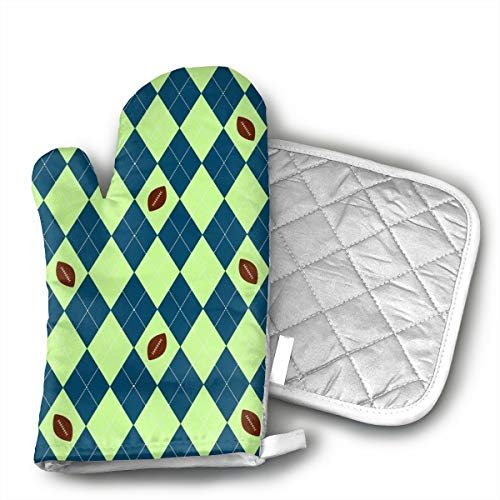 KEIOO Seahawks Seattle Football Argyle Oven Mitts and Potholders Heat Resistant Set of 2 Kitchen Set Non-Slip Grip Oven Gloves BBQ Cooking Baking Grilling ()