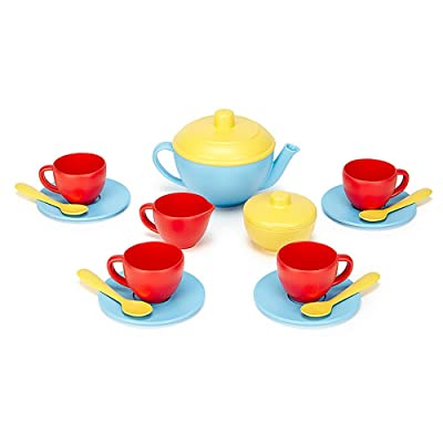 Green Toys Tea Set, Blue/Red/Yellow: Toys & Games