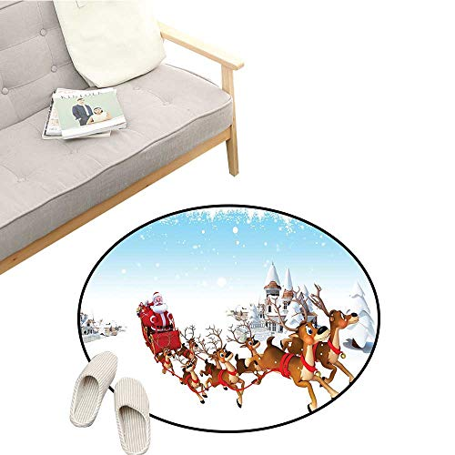 Santa Modern Area Rug Christmas Ride on a Sleigh Cartoon Deer with Jingle Bells Winter Time Hard and wear Resistant D51 Caramel Red Pale Blue ()