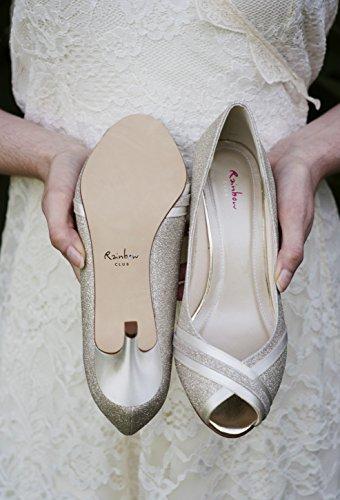 Arcobaleno Del Club Brautschuhe Margie - Pompe Peep Toe In Raso Avorio - Signore Avorio / Crema (avorio)