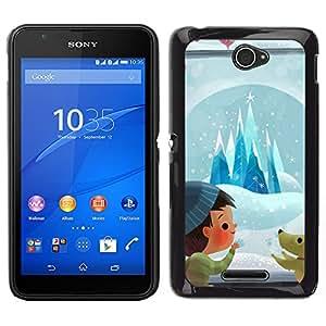 Sony Xperia E4 Único Patrón Plástico Duro Fundas Cover Cubre Hard Case Cover - Cartoon Puppy Cartoon Winter