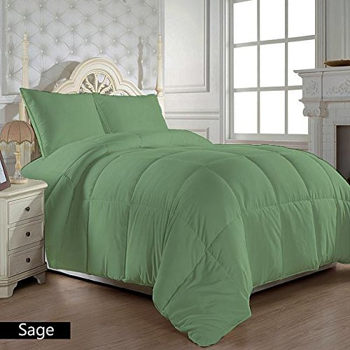 US Bedding Hypoallergenic Egyptian Cotton 300 GSM Warm Comforter/Quilt (Sage, Full/Queen) Luxurious 300 Thread Count By