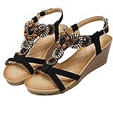Round Head Bohemia National Slipsole Women Fashion Sandals Artificial Beads Heel Height 2.3in