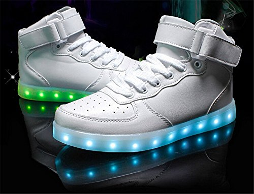 Socone Light Up High Top USB Charging LED Women & Men Shoes Flashing Sneakers White Gh1Naw46z
