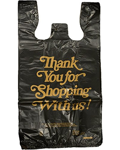 Pack of 136 Count Black Large Plastic T-shirt Poly Bags