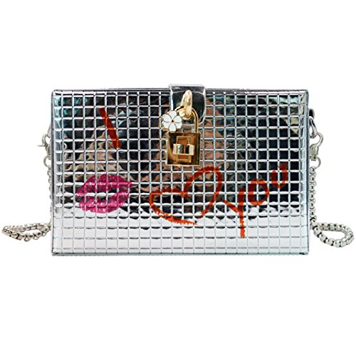 Box Shoulder Bag with Chain Strap Cute Red Lip Print Clutch Handbags for Women from mily White by Mily