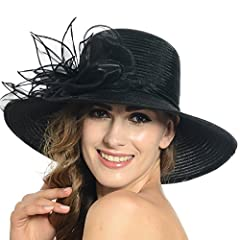 Women's Sun Hat - Floral Organza Wide Brim Gauze Kentucky Derby Cap - Folding Sun Summer Hat for Church Ascot Racing Derby Wedding Party Beach Travel Outgoing   Elegant design,double layers fabric, organza and gauze, which create a fluffy an...