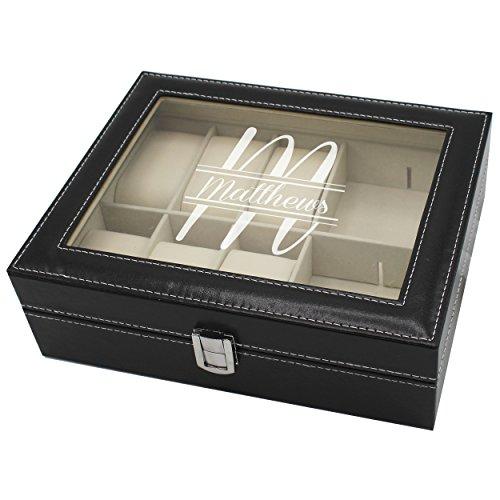 Personalized Custom Engraved Jewelry Box Organizer, Black
