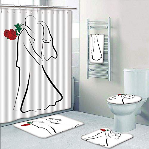 Bathroom 5 Piece Set Shower Curtain 3D Print Customized,Wedding,Classical Simple Silhouette of Wedding Couple in Love Red Roses Happy Moments Decorative,Vermilion Black,Graph Customization