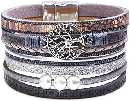 1f7d7ce28d5 DESIMTION Wrap Boho Multilayer Leather Wide Cuff Handmade Wristbands Wrist  Braided Magnetic Buckle Casual Bangle Bracelet