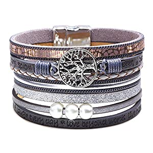 DESIMTION Inspirational Tree of Life Leather Bracelets for Women,Christmas Birthday Jewelry Gifts for Teen Girls