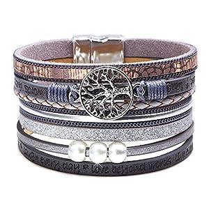 DESIMTION Womens Boho Wrap Leather Multilayer Wide Tree of Life Bracelets Jewelry for Women Teen Girl Boy