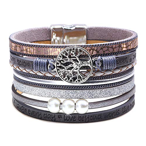 DESIMTION Wrap Boho Multilayer Leather Christmas Day Gifts Wide Cuff Handmade Wristbands Tree of Life Buckle Engraved Casual Life Bangle Bracelets for Teen Girls Womens Gifts (Grey)