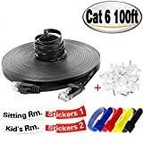 Cat 6 Ethernet Cable 100 ft,High Speed Flat Thin Network Cable Cat6 Fast than Cat5/Cat5e, 100 Feet Long for Internet,Computer,LAN,XBOX,PS4,HDMI RJ45 Connectors Free With Clips,Labels,Bands, Black