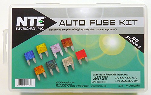 Electronics Nte Part (NTE Electronics 74-AUTOKIT4 Fuse Kit, Automotive Mini, ATM Equivalent Assortment, 96 Piece)