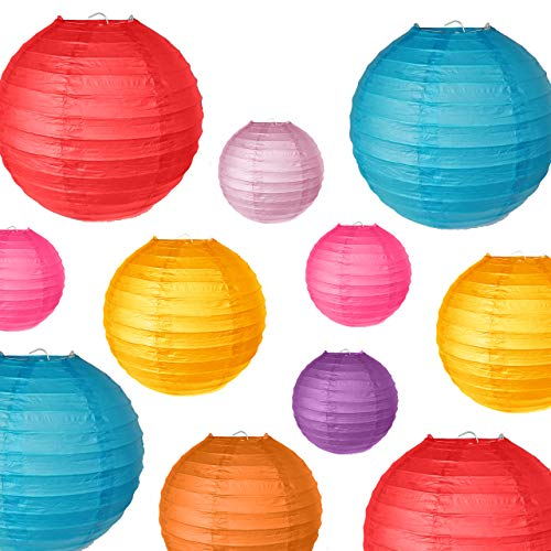 PartyOn!18 Pcs Colorful Paper Lanterns (Multicolor, Size 6, 8, 10) - Chinese/Japanese Hanging Paper Lanterns for Home Decor, Weddings, Baby Showers, Parties & More