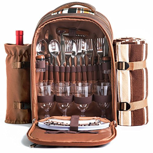 Picnic Backpack Bag for 4 Person With Cooler Compartment, Detachable Bottle/Wine Holder, Fleece Blanket, Plates and Cutlery Set Perfect for Outdoor, Sports, Hiking, Camping, BBQs(Coffee) by APOLLO WALKER (Image #1)
