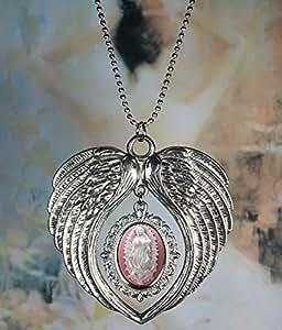 Z3-0A1 Holy Saint Mary Handmade Dragon Wing Cameo Fashion Pendant Necklace