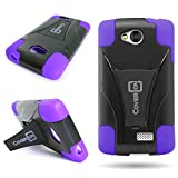 Tribute Transpyre Optimus F60 Case, CoverON® for LG Tribute / Transpyre Optimus F60 Hybrid Kickstand Case [Dual Defense] Hard Heavy Duty Protective Shockproof Phone Cover - Purple / black