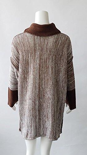 Tinta Bluse Casual Sciolto Jumper Tops Autunno Lungo Marrone E Pullover Sweater Inverno Alto Donna Manica Moda Maglione Unita A Tunica Collo Lunga Maglieria qZa1q6w
