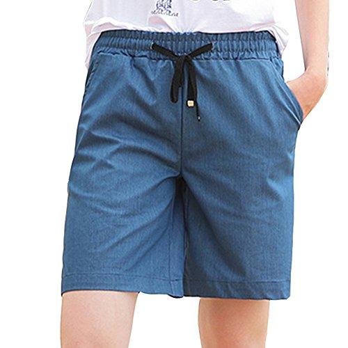 Vita Guiran Tasche Pantaloncini Con Donna 1 Corti Elastica Casuale Per Pantaloncini Bermuda Alta xH0HwO