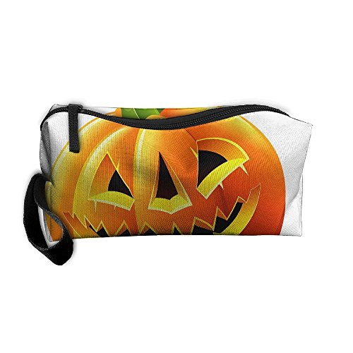Halloween Pumpkin Storage Tools Canvas Zipper Multi-function Organization Bag With -