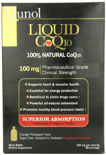Qunol Ultra Haute Absorption Tous 100mg naturel liquide CoQ10, Orange Ananas, 20 oz Bouteille, 60-Portions