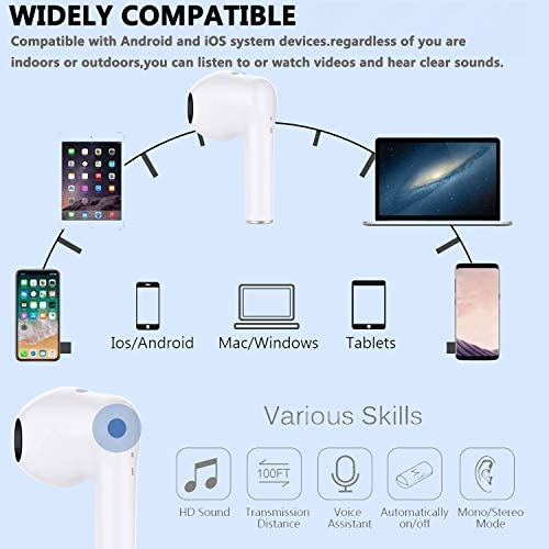 Wireless Earbuds Air Podswireless Bluetooth 5.0 Headphones with Charging Case Noise Cancelling 3-D Stereo Headphones Built in Mic in Ear Ear Buds Auto Pairing Headphones for iPhone/Samsung/Appl (White)