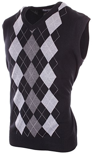 Enimay Mens Argyle V-Neck Golf Sweater Vest (Many Colors Available) Black | Grey (Sweater Vest Tie)