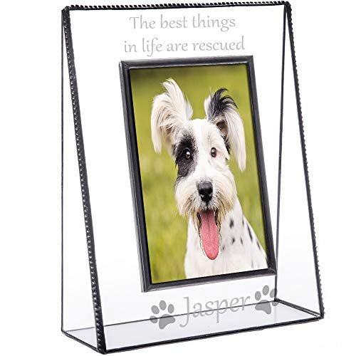 - J Devlin Pic 319-46V EP594 Personalized Dog Picture Frame Engraved Clear Glass Tabletop 4 x 6 Vertical Photo Pet New Dog Owner