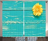 Rustic Home Decor Curtains Flower on Vintage Wooden Backplane Floral Beauty Redolence Spring Living Room Bedroom Window Drapes 2 Panel Set Turqouise Yellow For Sale
