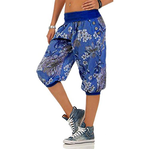 Women Print Threaded Trousers with Loose Bandwidth Wide-Leg Capri Pants by-NEWONESUN