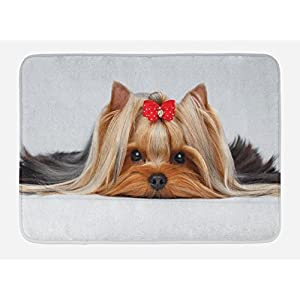 "Ambesonne Yorkie Bath Mat, Lying Yorkshire Terrier with Ribbon Yorkie Love Portrait of a Dog, Plush Bathroom Decor Mat with Non Slip Backing, 29.5"" X 17.5"", Caramel Brown 26"