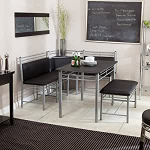 Breakfast Nook - Black Family Diner 3 Piece Corner Dining Set - Enjoy the Best Kitchen & Amazon.com - Breakfast Nook - Black Family Diner 3 Piece Corner ...