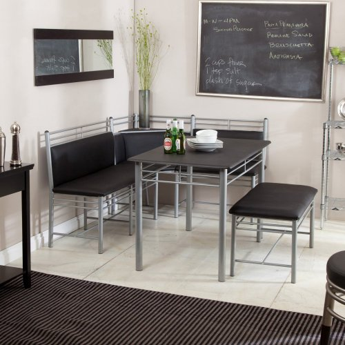 Breakfast Nook - Black Family Diner 3 Piece Corner Dining Set - Enjoy the Best Kitchen Table Furniture Loaded with a Luxury Bench Seat and Cushions - Nook Seating with Backless Bench Chair Sets - Best Guarantee (3 Corner Nook Breakfast Piece Set Black Dining)